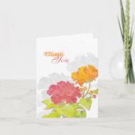 Exotic Red, Orange Peony Spring Wedding Thank You Card