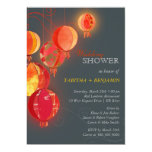 Exotic Red Paper Lanterns Wedding Couples Shower 5x7 Paper Invitation Card