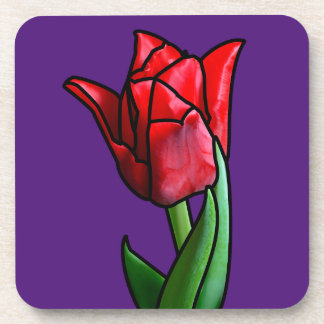 Exotic Red Stained Glass Tulip Beverage Coaster