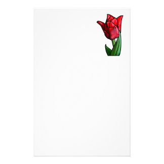Exotic Red Stained Glass Tulip Stationery