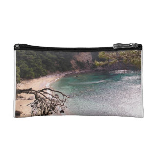Exotic remote beach in Sparta. Makeup Bag