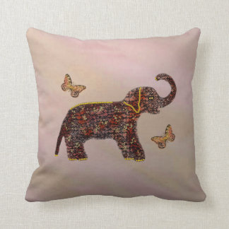 Exotic Rose Elephant Butterfly Decorative Pillow