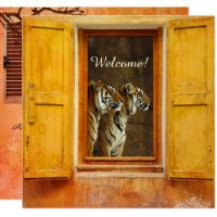 Exotic Safari Zoo Tiger Cat Wedding Invitation