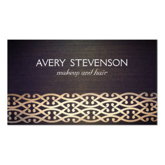 Exotic Scrolls Designer and Fashion Gold Wood Look Business Card Templates