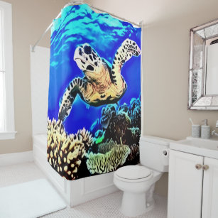 Exotic Sea Turtle Airbrush Custom Shower Curtain