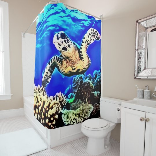 Exotic Sea Turtle Airbrush Custom Shower Curtain | Zazzle.com