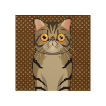Exotic Shorthair Cat Cartoon Paws Wood Wall Art