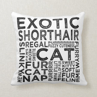 Exotic Shorthair Cat Typography Throw Pillow