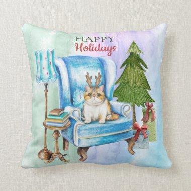 Exotic Shorthair Christmas Holidays Cat Decor Throw Pillow