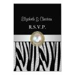 Exotic Silver Zebra  print RSVP Card
