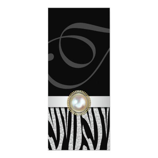 Exotic Silver Zebra Print Wedding Menu Card