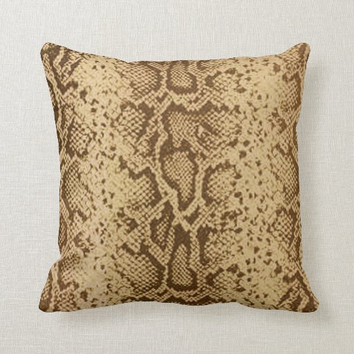 Snake Cushion Knitting Pattern : Exotic Snakeskin Pattern beige brown Throw Pillows Zazzle