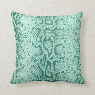 Exotic Snakeskin Pattern | mint blue Throw Pillow
