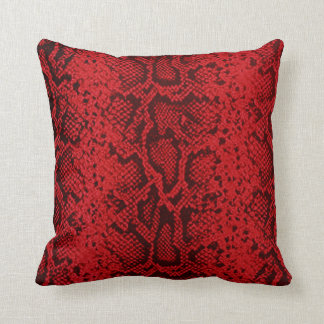 Exotic Snakeskin Pattern | ruby red Throw Pillow