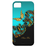 Exotic Teal Blue Gold Black Butterfly iPhone 5 Cover
