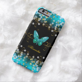 Exotic Teal Blue Gold Black Butterfly Sparkles Barely There iPhone 6 Case