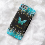 Exotic Teal Blue Gold Black Butterfly Sparkles iPhone 6 Case