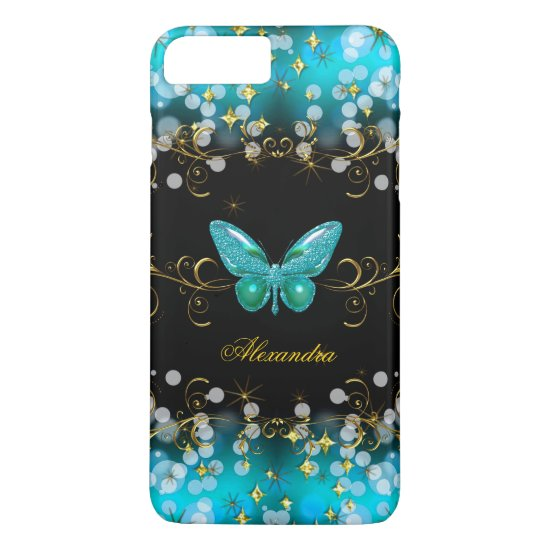 Exotic Teal Blue Gold Black Butterfly Sparkles iPhone 7 Plus Case