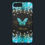"Exotic Teal Blue Gold Black Butterfly Sparkles iPhone 8 Plus/7 Plus Case<br><div class=""desc"">Elegant Classy Teal Blue, Gold Black Butterfly Sparkles Fabulous Phone cover for Women, Girls, Zizzago created this design Add Name Initials Glitter (Be advised that image will appear darker on Case) Fabulous product for Women, Girls, Zizzago created this design PLEASE NOTE all flat images! They Do NOT have real Glitter,...</div>"