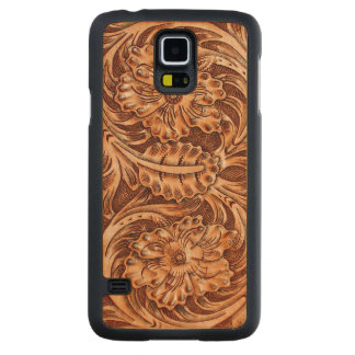 Exotic Tooled Leather Look Carved Maple Galaxy S5 Slim Case