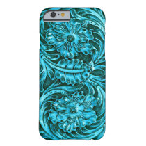 Exotic Tooled Leather Look | turquoise Barely There iPhone 6 Case
