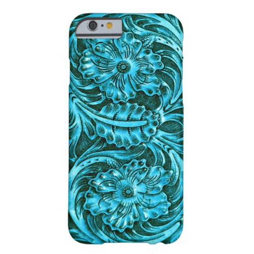 Exotic Tooled Leather Look | turquoise Phone Case