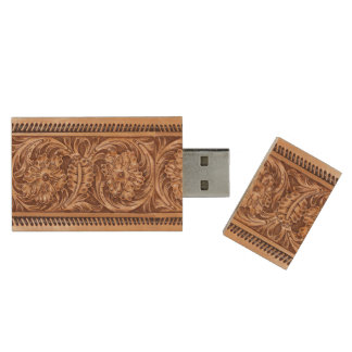 Exotic Tooled Leather | tan Wood Flash Drive