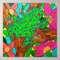 Exotic Tree Frog Tropical Rainforest Folk Art Poster