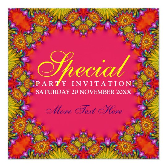 Exotic Tribal Fruity Party Invitations