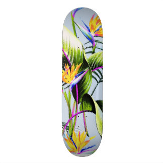 Exotic Tropical Birds of Paradise Palm Blue Accent Skateboard