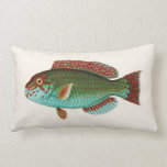 Exotic Tropical Fish in Aqua Blue and Red Throw Pillow
