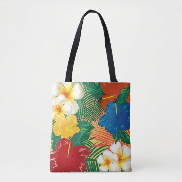 Beach Themed Exotic Tropical Flower Design Tote Bag