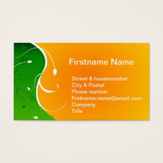 Exotic tropical flower Green Grass with Orange Sun Business Card