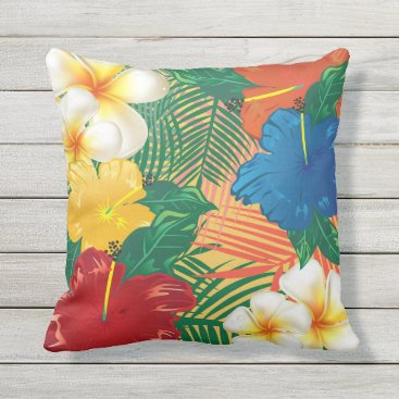 Beach Themed Exotic Tropical Flowers Outdoor Pillow