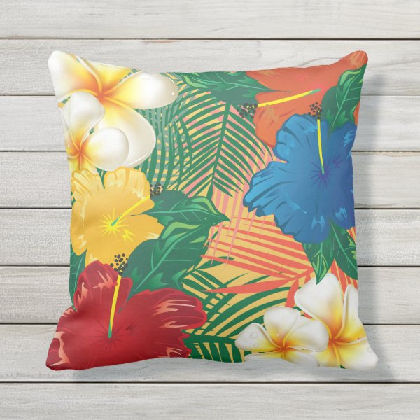 Exotic Tropical Flowers Outdoor Pillow