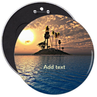 Exotic Tropical Island Template 6 Inch Round Button