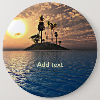 Exotic Tropical Island Template Pinback Button