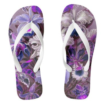 Beach Themed Exotic Vintage Tropical Flowers | lilac purple Flip Flops