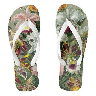 Beach Themed Exotic Vintage Tropical Flowers | sage willow tan Flip Flops