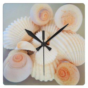Beach Themed Exotic White Peach Sea Shells, Summer Beach Square Wall Clock