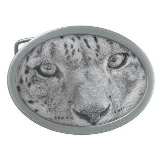Exotic White Snow Leopard Belt Buckles