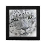 Exotic White Snow Leopard Keepsake Box