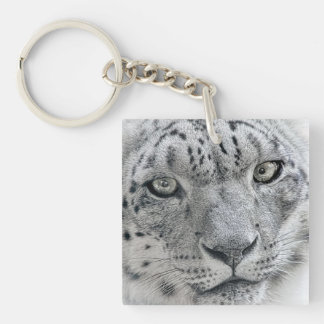 Exotic White Snow Leopard Single-Sided Square Acrylic Keychain