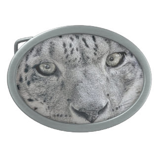 Exotic White Snow Leopard Oval Belt Buckle