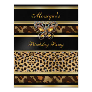 Exotic Wild Animal Prints Birthday Black Gold 2 Card
