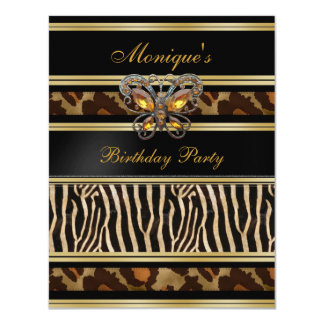 Exotic Wild Animal Prints Birthday Black Gold Card