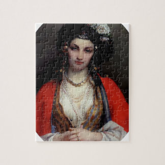 Exotic woman painting puzzle