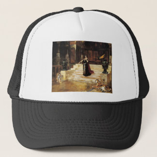 Exotic woman tiger palace trucker hat