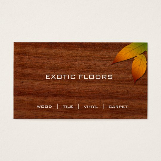 Exotic Wood Business Card with autumn Leaf 2
