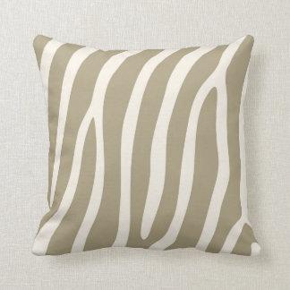 Exotic Zebra Stripes in Light Khaki Throw Pillow